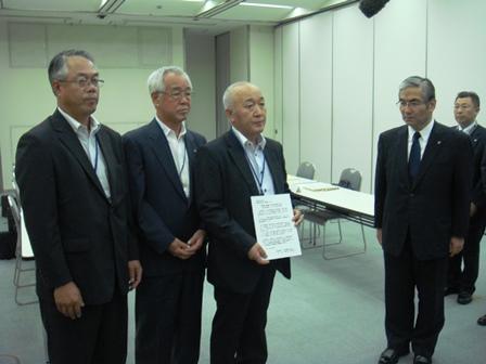 東京電力へ抗議文書を手交